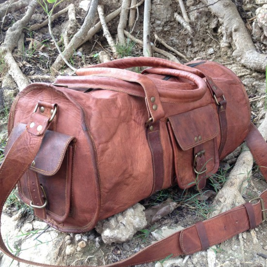 Real Goat Leather Duffel Bag